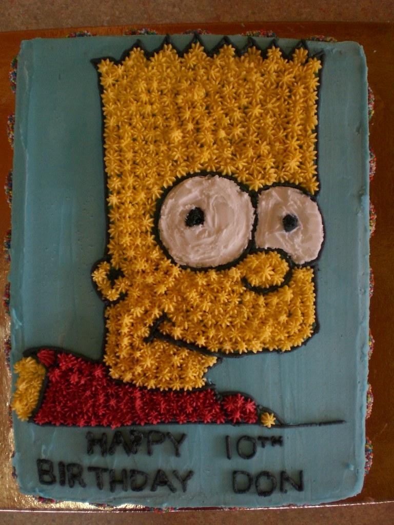 Awe Inspiring Novelty Bart Simpson Cake Made Using A Star Tip Tube Flickr Personalised Birthday Cards Veneteletsinfo