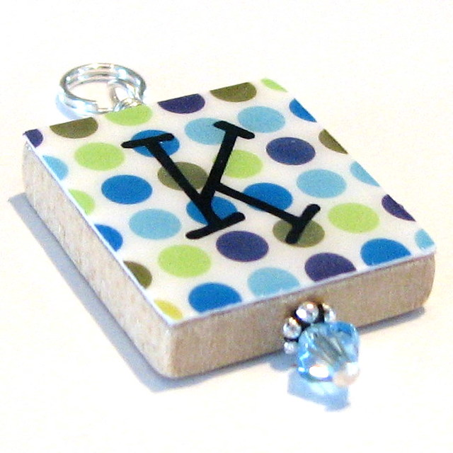 Blue Disco Dots . . . a Scrabble Tile Initial Pendant