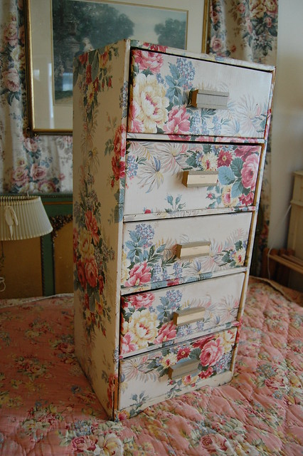Vintage wallpaper chest of drawers