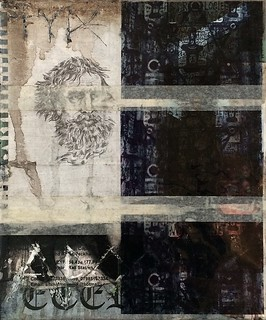 Zavier Ellis 'Type 1 Apostle I', 2014 Acrylic, oil, pencil, paper, acetate, tape, street poster on linen 30x25cm