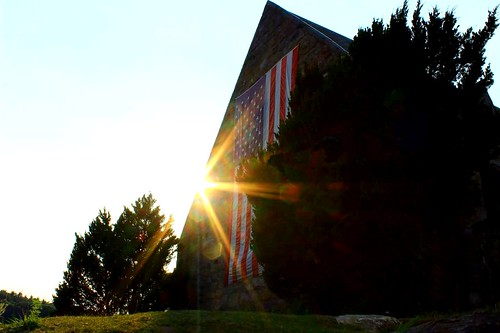 sunset building church architecture flag massachusetts americanflag rays