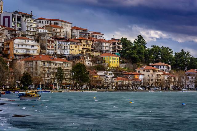 Frozen lake Orestiada at Kastoria ...