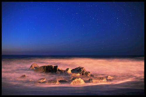 morning blue orange water night sunrise stars early rocks awesome swirl follybeach nikond3