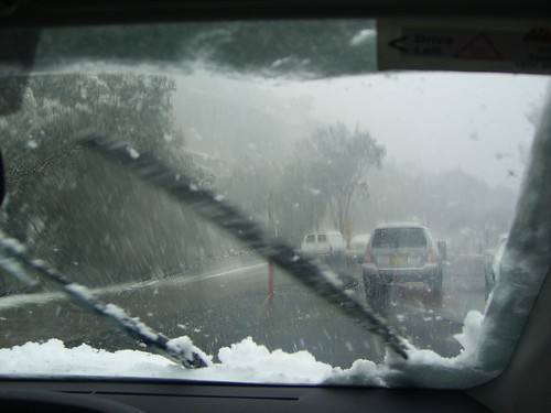 Yaris wipers furiously wiping snow - Thredbo