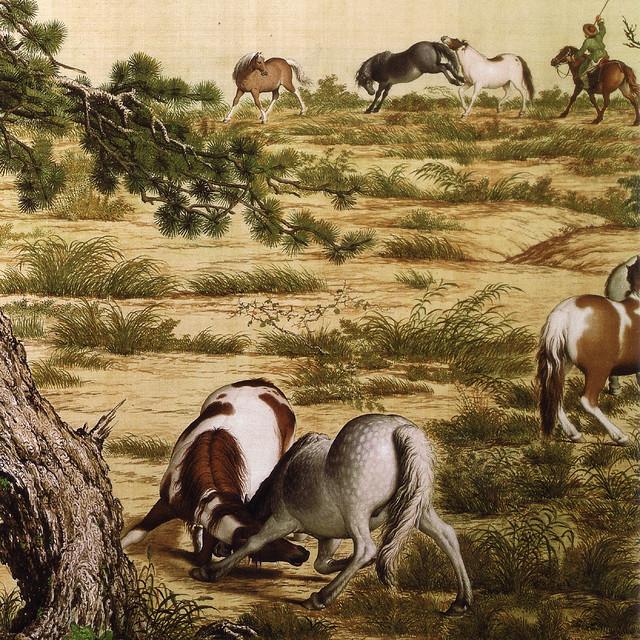 Giuseppe Castiglione 郎世寧  「百駿圖(百駿図)(部分)」(1728)