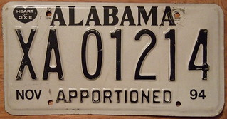 ALABAMA 1994 APPORTIONED plate