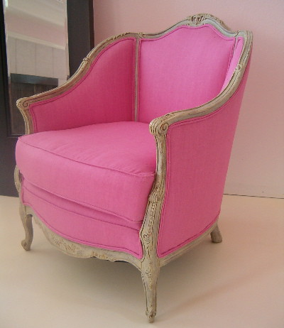 REWORKED ANTIQUE FRENCH PINK CHAIR