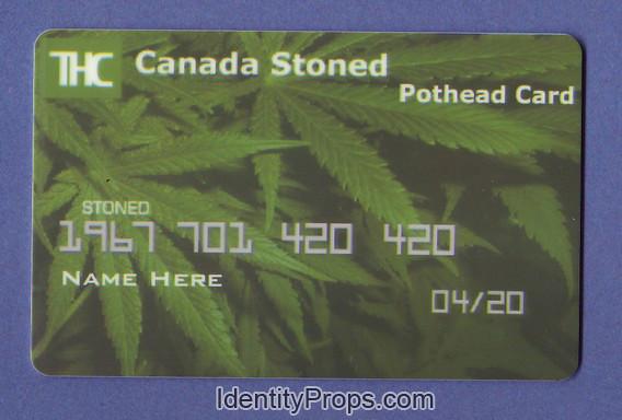 THC canada stoned Pothead Marijuana 420 pot weed ID Card c