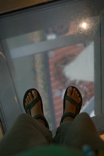 The base of Macao tower (down there) and my feet | by immu