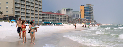 people panorama beach water sand women waves gulf florida bikini condos destin hdr