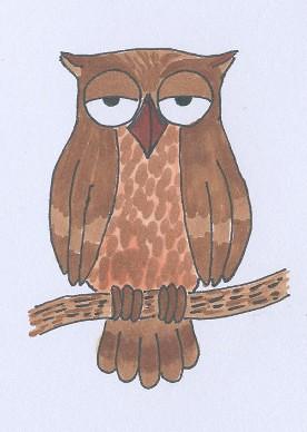 Cartoon owl ATC 1 | by spinjenny
