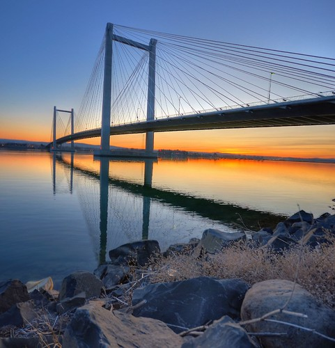 bridge blue sunset sky water river washington cable columbia wa 1020mm hdr kennewick pasco tricities nikond90 excapture