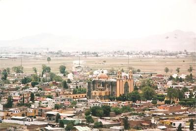 Cholula - view from Santuario de la Virgen de los Remedios: Franciscan Church of San Andres Cholula