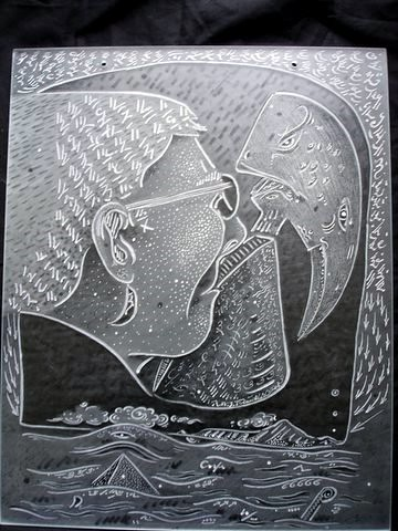 Portrait of Malcha. Talking with the past 2005 glass engraving