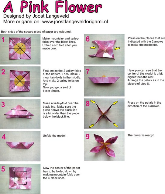 Pink Flower (diagrams) | Diagrams for folding an origami flo ... on