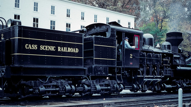 08.08 - Shay locomotive serving Cass Scenic Railroad. Distinctive bevel gear drive shaft system visible