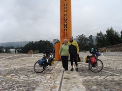 Nancy and Randy at the Equator in Ecuador