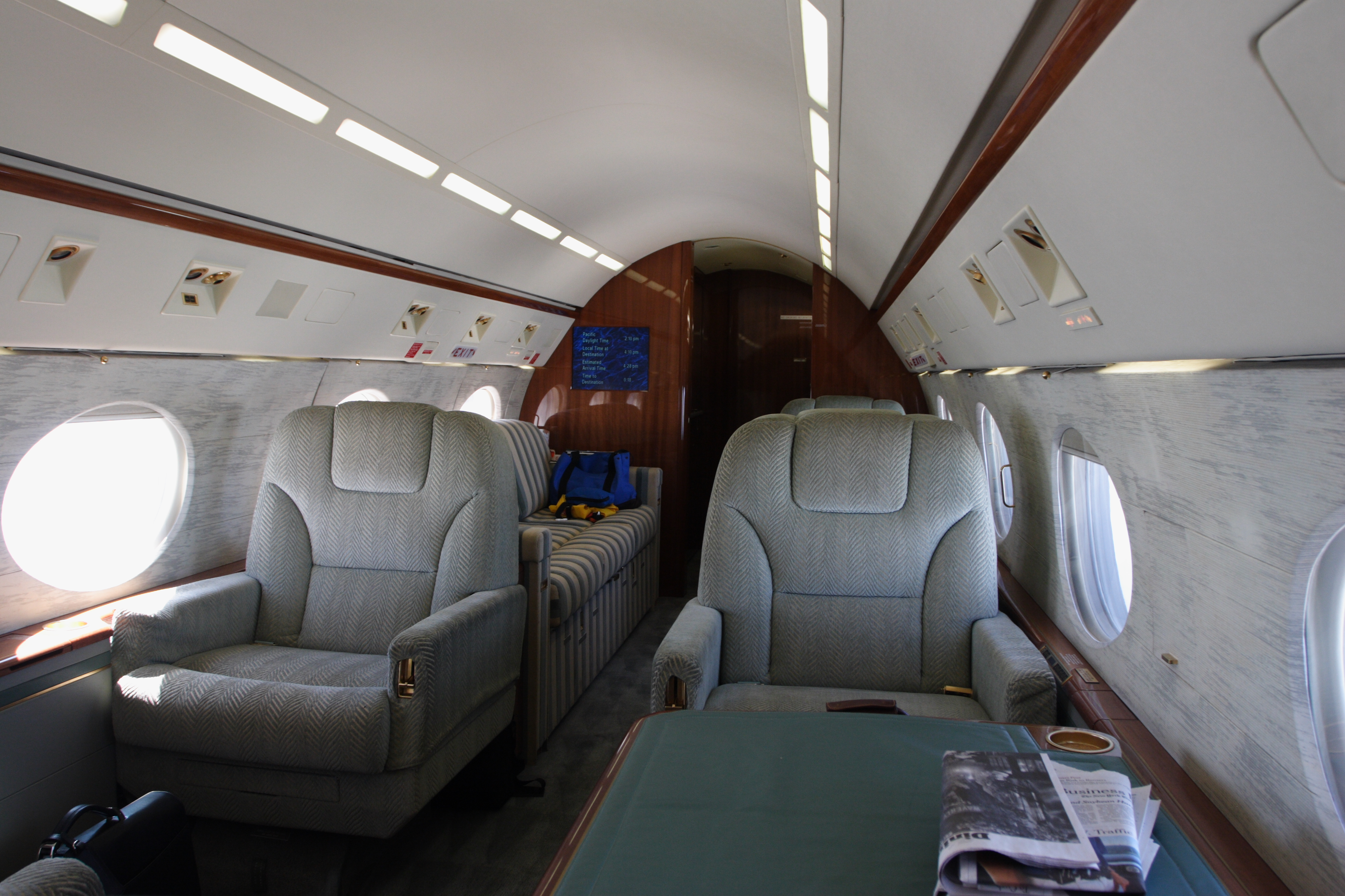 Rear view of private jet