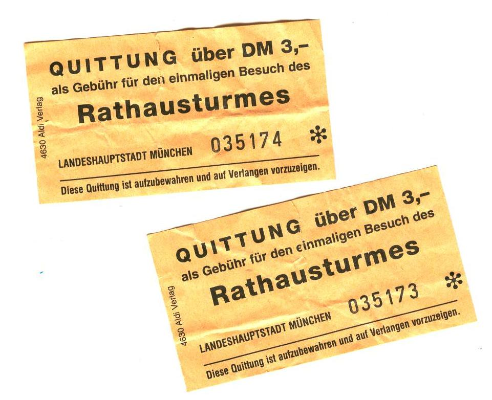 Tickets to the Rathaus tower, Munich