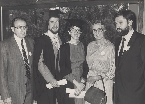 Professor G.M. Kellerman, Dr. Doug Routley, Dr. Sue Hill, Dr. Joan Asher (President, AMA), and Dr. Gabor Major, [c. 1983] | by Auchmuty Library, UON