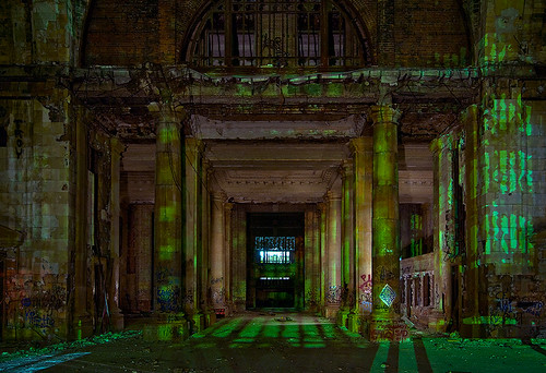 abandoned station night michigan detroit central columns terminal depot