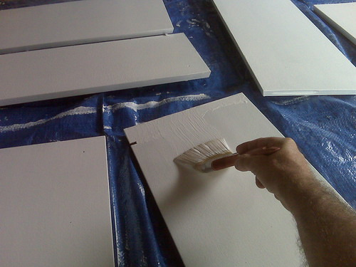 Second coat of paint on kitchen cabinets | by yugenro