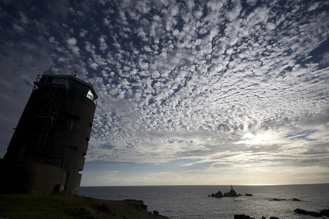 The leaning tower of Mackerel (Cirrocumulus skies @  Corbiere, Jersey)