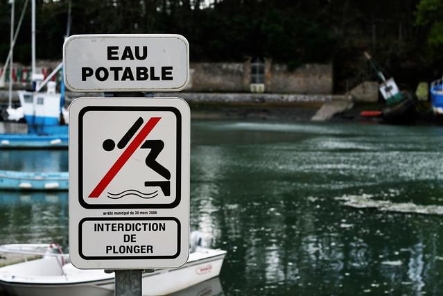 Eau potable - Interdiction de plonger