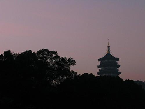 china lake sunrise westlake hangzhou xihu