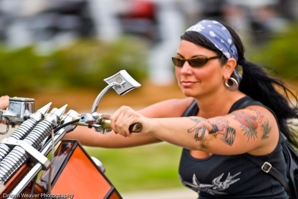 biker babe on a chopper
