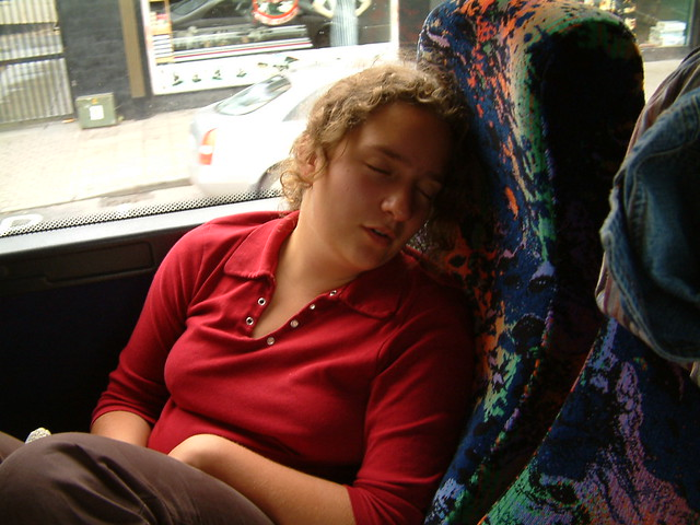 Sleeping on the bus - its a long journey - B.H. Glencree Youth Exchange