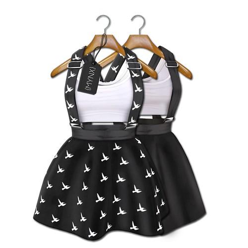 {MYNX} Suspender Dress - Black Birds