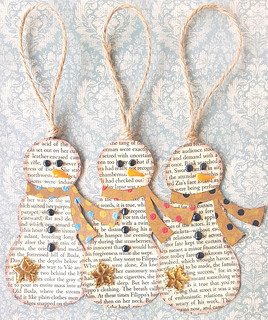 Book Page Snowmen Ornaments | by Kathy Skaggs