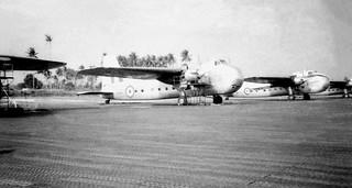 1956 Four RNZAF Bristol Freighters on 41 Sqn disperal, RAF Changi, Singapore