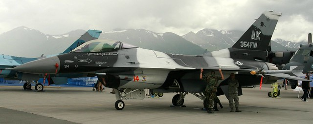 F-16 camouflaged to blend in with the dismal Alaskan skies
