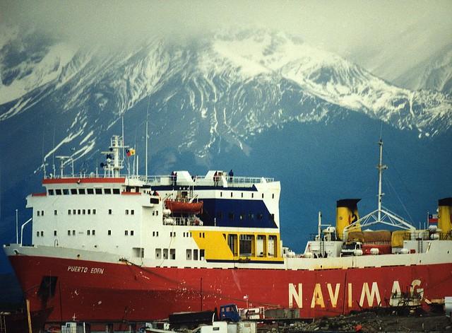 Navimag cargo ship in Puerto Natales harbor Chile