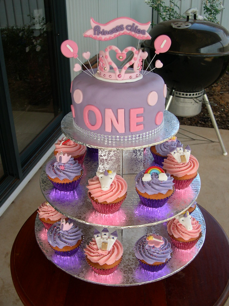 Superb Princess Chloes First Birthday Cake Cupcakes This Has T Flickr Personalised Birthday Cards Veneteletsinfo
