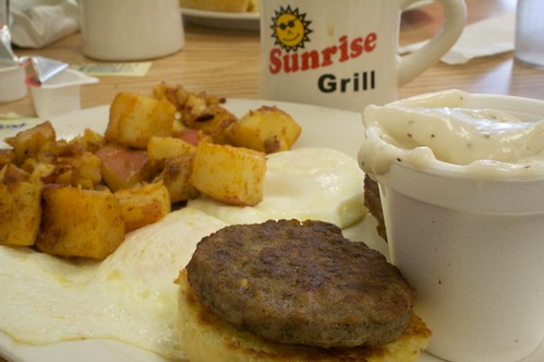 breakfast sunrise georgia sausage gravy grill biscuit fries eggs augusta