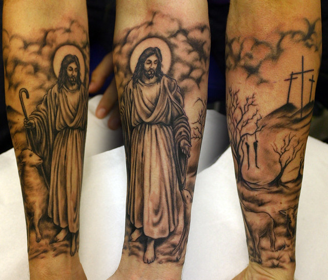 Jesus-and-hanging-tree-tattoo | www.facebook.com/FlamingArtT… | Flickr