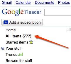 Google reader this morning