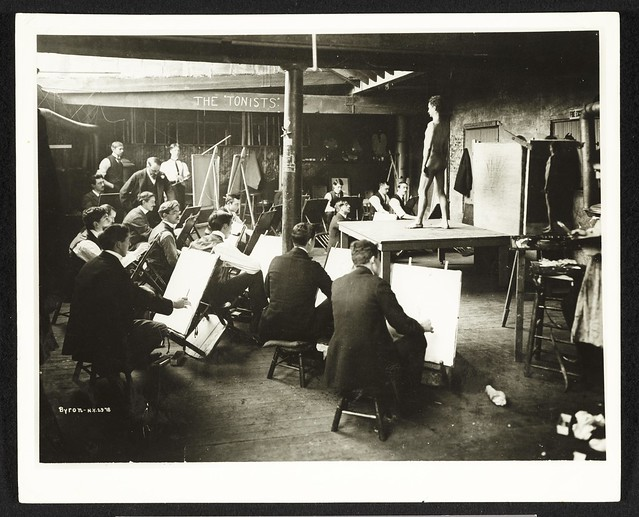 Photograph of a men's art class at the Chase School of Art