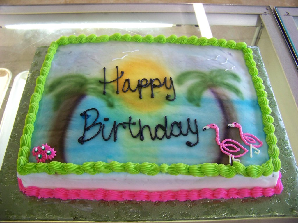 Fantastic Tropical Birthday Cake A 1 3 Sheet White Cake Covered In W Flickr Birthday Cards Printable Trancafe Filternl