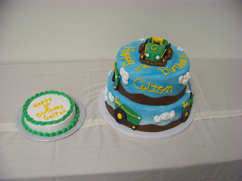 Wondrous John Deere 1St Birthday Cake A 2 Tier Cake Decorated With Flickr Funny Birthday Cards Online Overcheapnameinfo