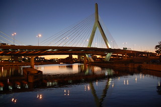 Zakim Bridge north tower reflection at dusk | by Chris Devers