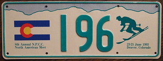 N.P.C.C. 1993 8TH ANNUAL NORTH AMERICAN MEET souvenir license plate