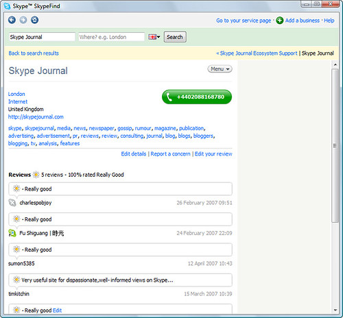 Skype Prime directory - in Skype Find, old Skype Journal l