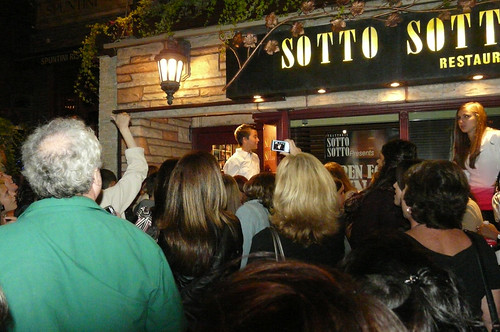 The Crowd gathers by the hundreds outside of Sotto Soto Restaurant where Brad Pitt was having Diner during Tiff '08 | by christopherharte