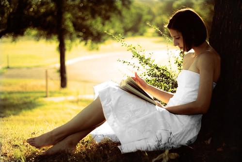 tree nature girl forest sunrise skinny book woods read sit barefeet brunette teenage whitedress carolinetaylor