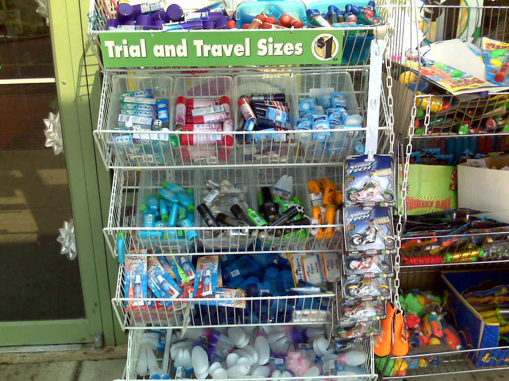 travel size, toiletries, trial size