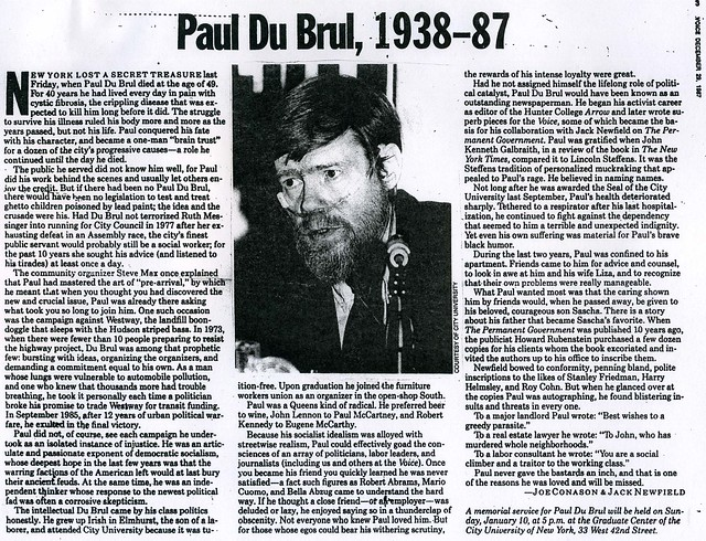 Paul DuBrul voice obit